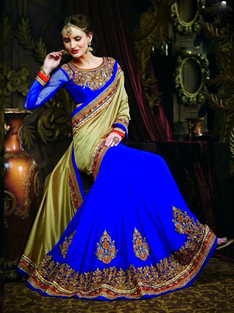 Attractive Royal Blue & Golden Best Designer Lehenga Sarees  Of Zari Work With The Elegant & Heavy Blouse