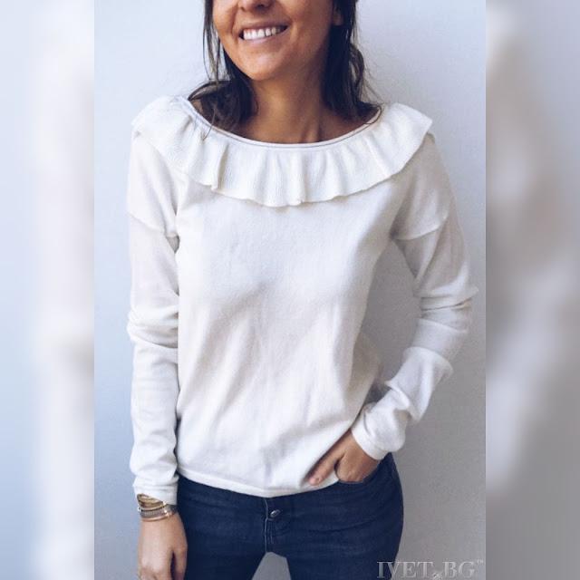 Μακρυμάνικη γυναικεία άσπρη μπλούζα GALENA