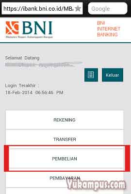 menu pembelian internet banking bni