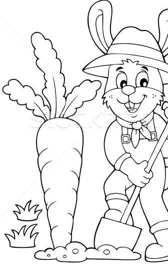 Dibujo para colorear de conejo o cultivando zanahorias