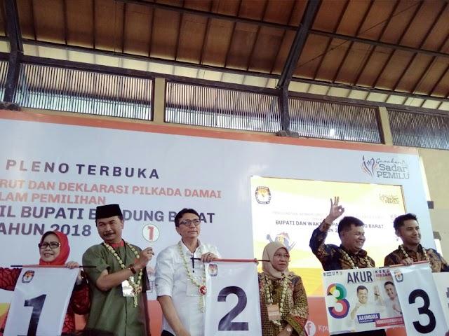 Inilah Nomor Urut Pasangan Calon di Pilbup Kabupaten Bandung Barat 2018