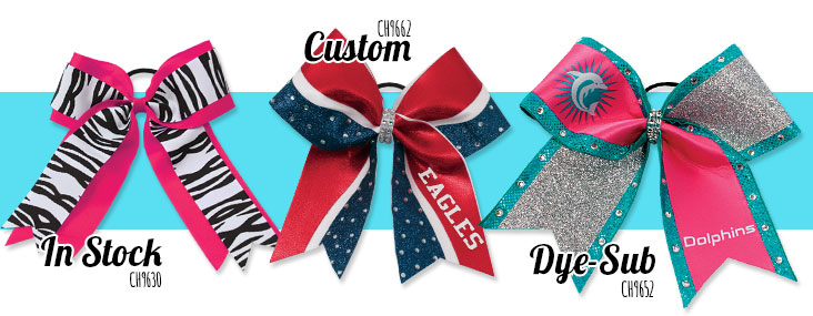 In Stock, Custom, and Dye-sublimated bows.