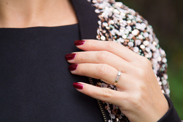 robe - sequins - manucure - vernis - rouge