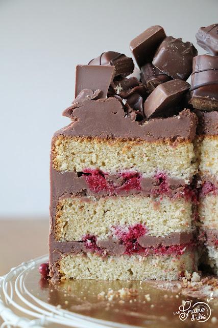 Layer Cake Ganache Chocolat au lait Compotée Framboises Gâteau Cake Design Facile