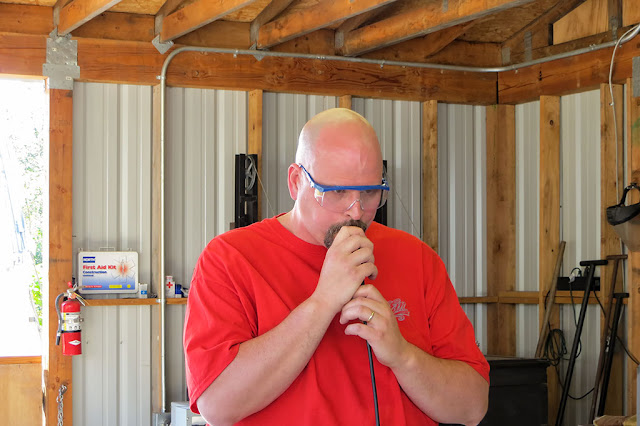Bubba tries glassblowing at Golden Glassblowing Experience - Skagway, Alaska