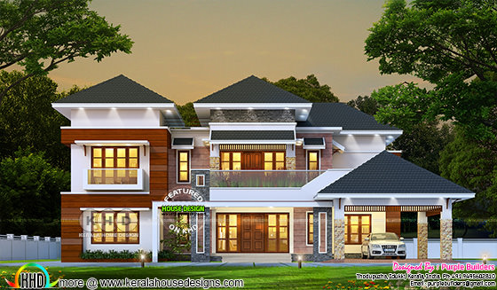 4 BHK sloping roof home in beautiful rendering