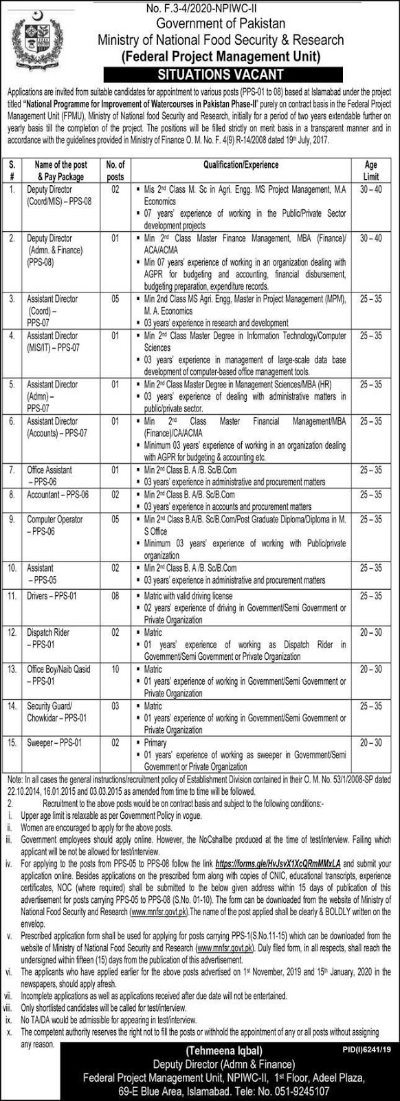 Ministry of National Food Security & Research Islamabad Jobs