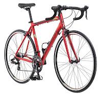 Schwinn Volare 1400 Men's Road Bicycle, aluminum 53 cm frame, matte red color, 700c tires, Shimano 14 speed integrated shifter/brake lever, Shimano derailleurs