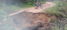 Jalan Penghubung Antar Desa Putus, Warga Suak Putat Tak bisa Melintas