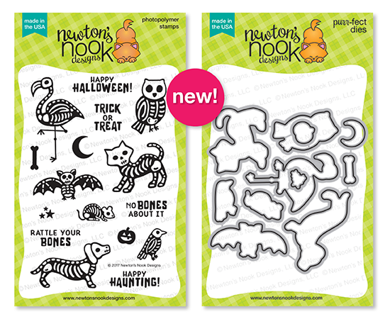 Spooky Skeletons Stamp set and Die Set by Newton's Nook Designs #newtonsnook #handmade