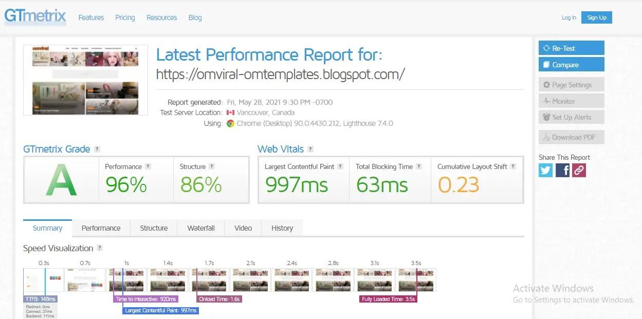 Omviral blogger template web speed test