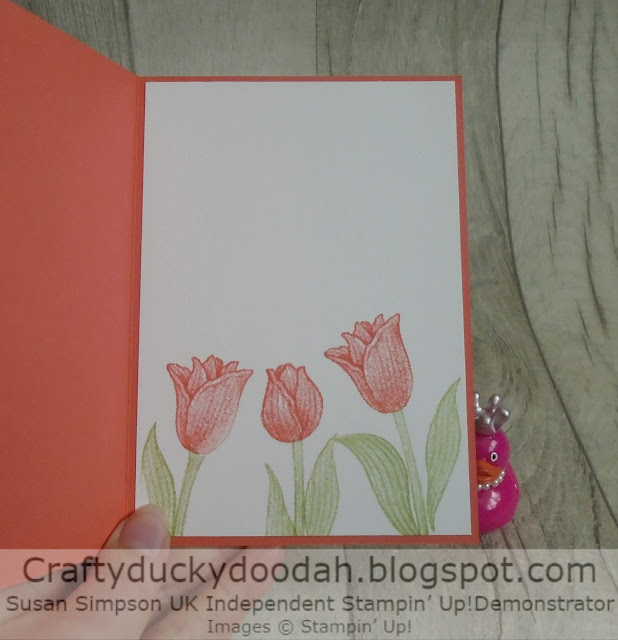 To assemble the Timeless Tulips card  Adhered the embossed panel to the card front with double sided tape.  Adhered the Calypso Coral panel with Tombow.  I used dimensionals to adhere the stamped panel and the sentiment.