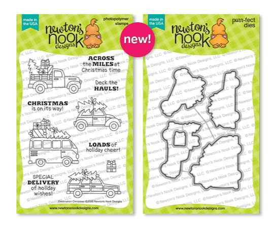 Destination Christmas | Cars and Trucks carrying Christmas Trees Stamp Set by Newton's Nook Designs #newtonsnook