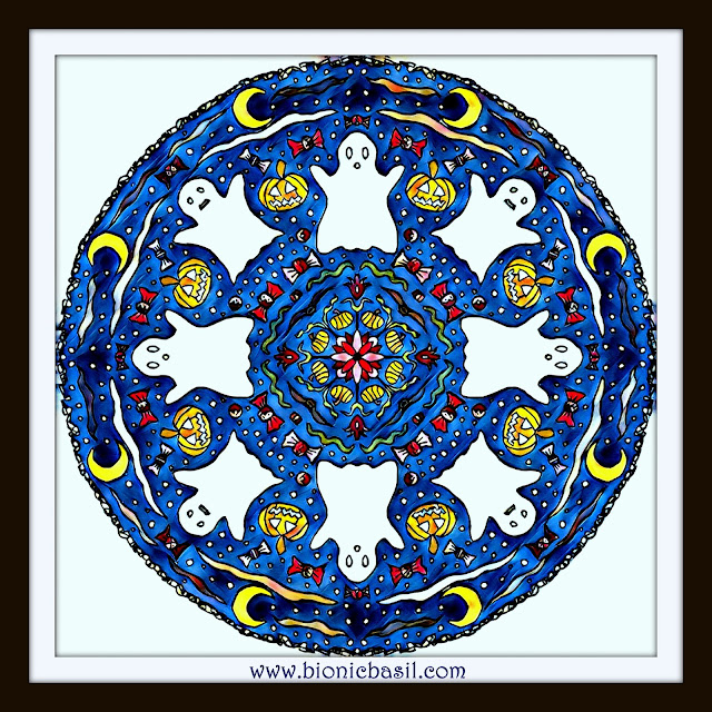 Mandalas on Monday ©BionicBasil® Colouring With Cats Mandala #91 coloured by Cathrine Garnell