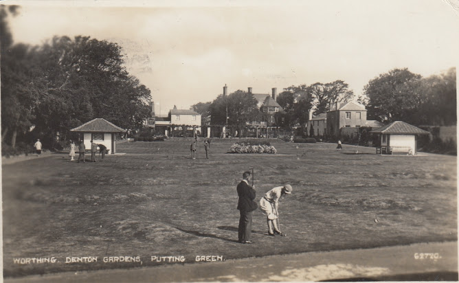 Worthing, Denton Gardens, Putting Green. The Photochrom Co Ltd. Posted  to Birchington, Kent on 30 July 1928