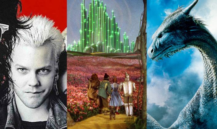 Imagem de capa: imagem dividida na qual se vê fundo vermelho e a figura de David de Garotos Perdidos, um garoto de cabelos platinados, brinco e casaco de couro em preto e branco, ao lado a estrada de tijolos amarelos rodeada por flores rosa em direção a Cidade das Esmeraldas de O Mágico de Oz e ao lado a figura de Safira, o dragão de escamas e olhos azuis com chifres na cabeça.