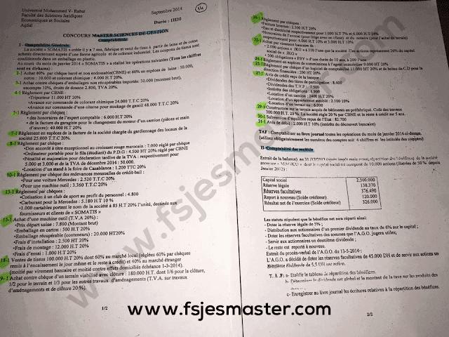 Exemple de Concours Master Sciences de Gestion 2014-2015 - Fsjes Agdal