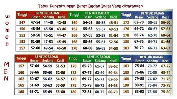 Tabel Standar BMI Untuk Pria dan Wanita