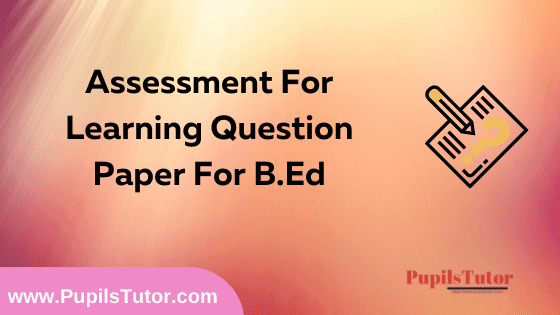 Assessment For Learning Question Paper For B.Ed 1st And 2nd Year And All The 4 Semesters In English, Hindi And Marathi Medium Free Download PDF | Assessment For Learning Question Paper In English | Assessment For Learning Question Paper In Hindi | Assessment For Learning Question Paper In Marathi