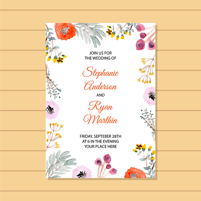Wedding Invitation With Beautiful Floral Frame Premium Template