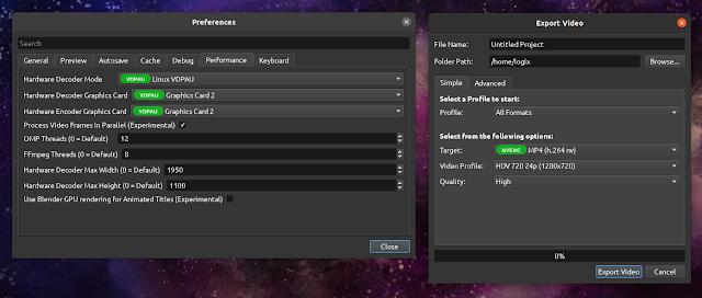 OpenShot hardware acceleration VA-API VDPAU