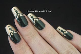 Green and gold nail art design ideas