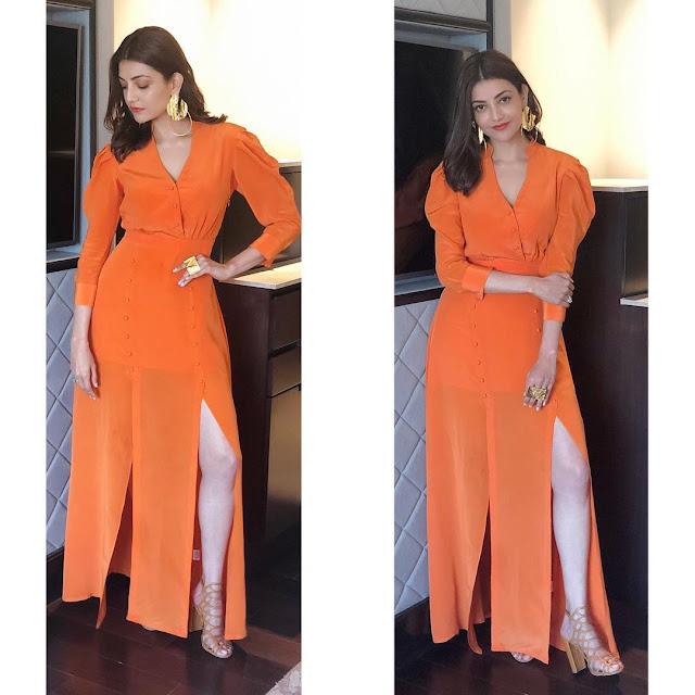 Beautiful Tamil Girl Kajal Aggarwal In Orange Dress Navel Queens