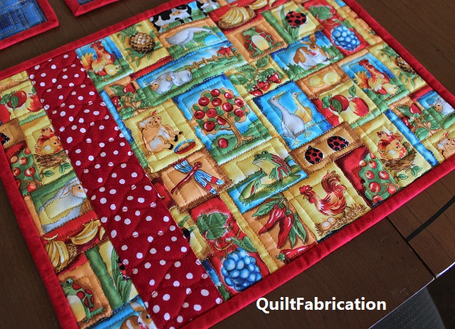 animal place mat closeup by QuiltFabrication