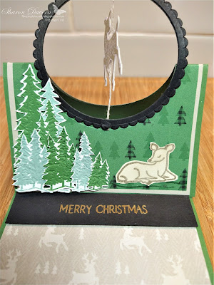 Rhapsody in craft, rhapsodyincraft, Christmas, Christmas card, Fancy fold, Fun Fold, Spinner Easel Card, Easel Card, Peaceful Deer Bundle, Peaceful Deer, Deer Builder Punch, Peaceful Prints, Evergreen Forest 3D Embossing Folder, Stampin Up!, July-Dec Mini 2021, #heartofchristmas2021