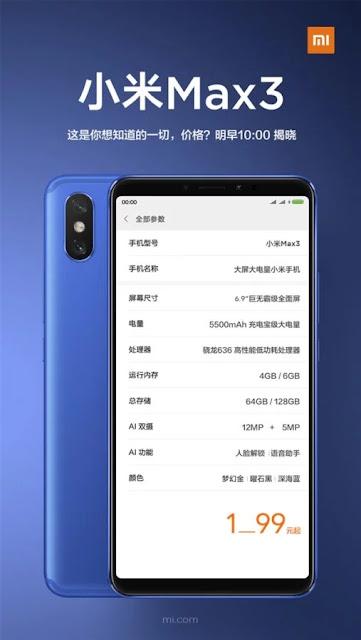 Presiden Xiaomi, Bocorkan Spesifikasi Xiaomi Mi Max 3 Harganya?