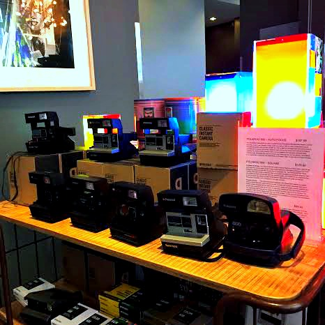 Old polaroid cameras in the gift shp of The Andy Warhol Museum in Pittsburgh.