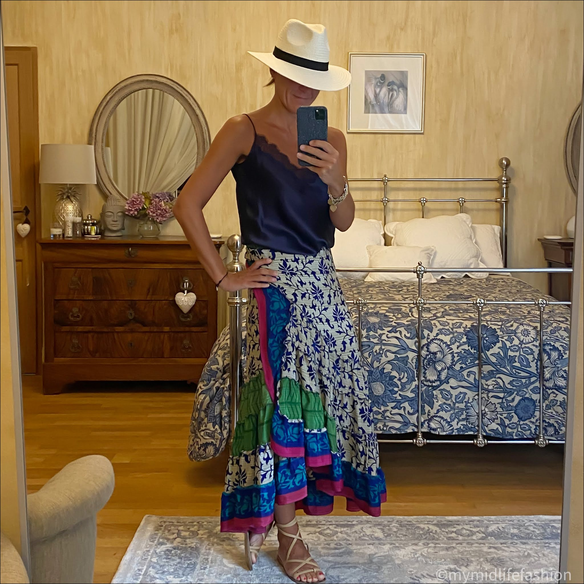 my midlife fashion, zara Panama hat, Massimo Dutti silk lace trim camisole, forage Somerset sari silk wrap skirt, Ancient Greek wrap around sandals
