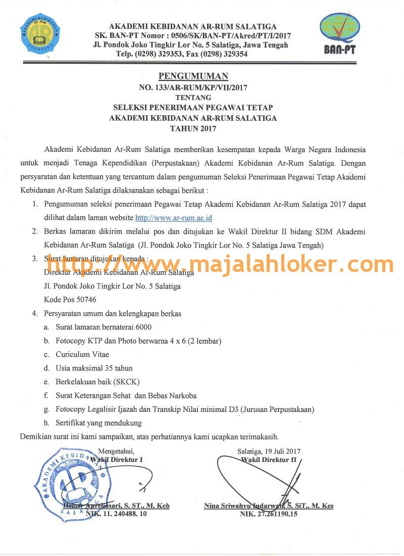rekrutmen Tenaga Kependidikan (Perpustakaan) Akademi Kebidanan Ar-Rum Salatiga