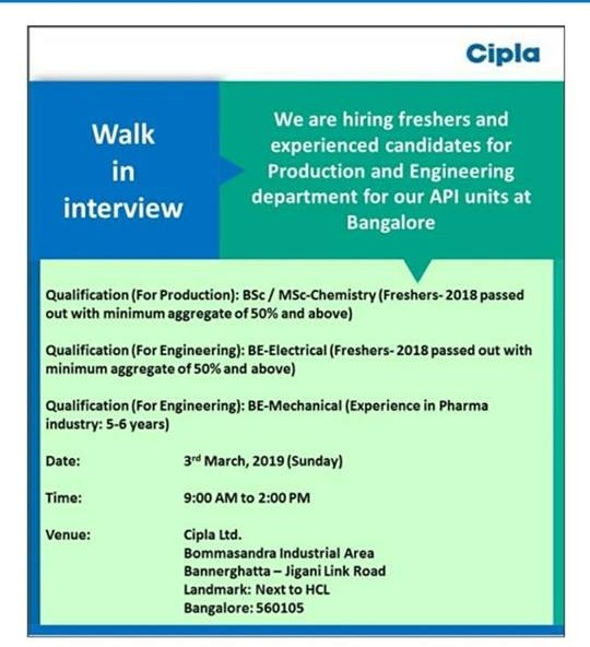Cipla Ltd - Walk-In Interviews for Freshers - Experienced Candidates on 3rd Mar' 2019