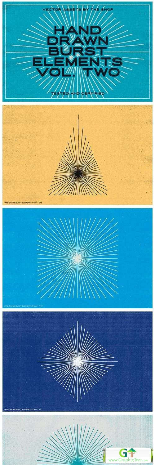 36 Hand-Drawn Burst Elements [Vector] [3D And Element Object & Web]