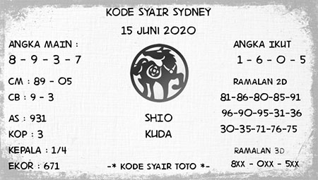 Prediksi Togel Sydney Senin 15 Juni 2020 - Kode Syair