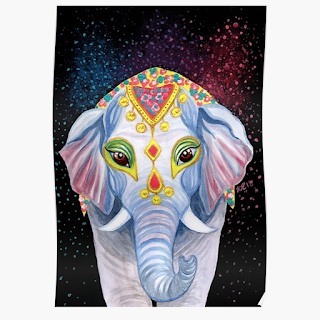 indian holi elephant poster