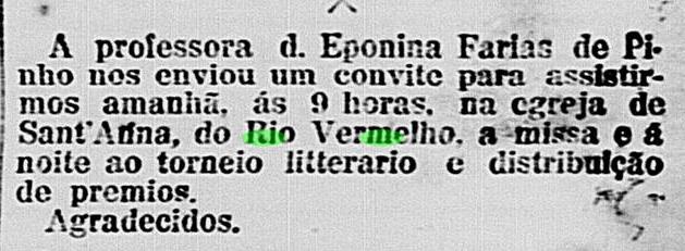 Torneio de Literatura no Rio Vermelho em 1914