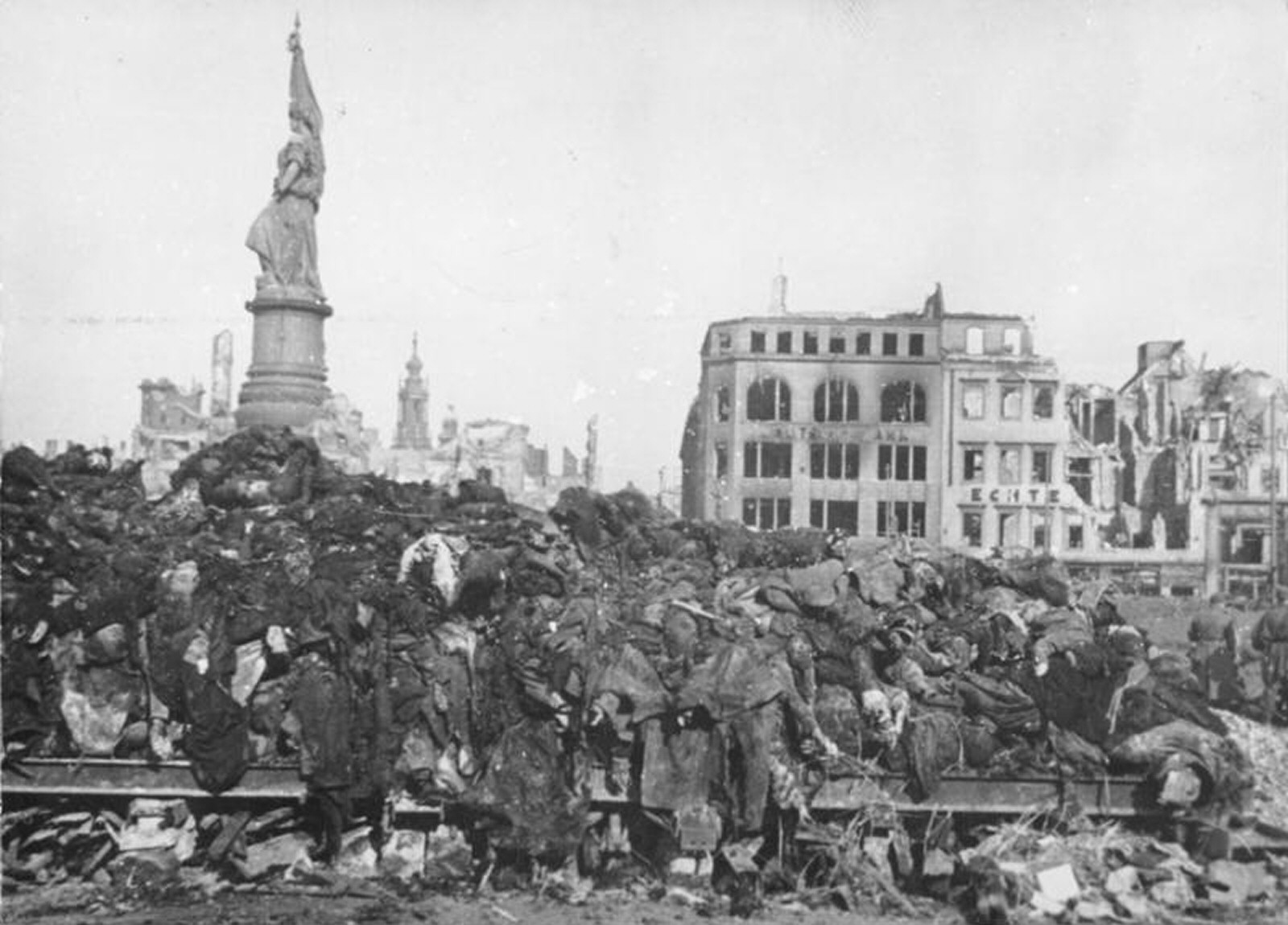 A pile of bodies awaits cremation after the firebombing of Dresden, February 1945.