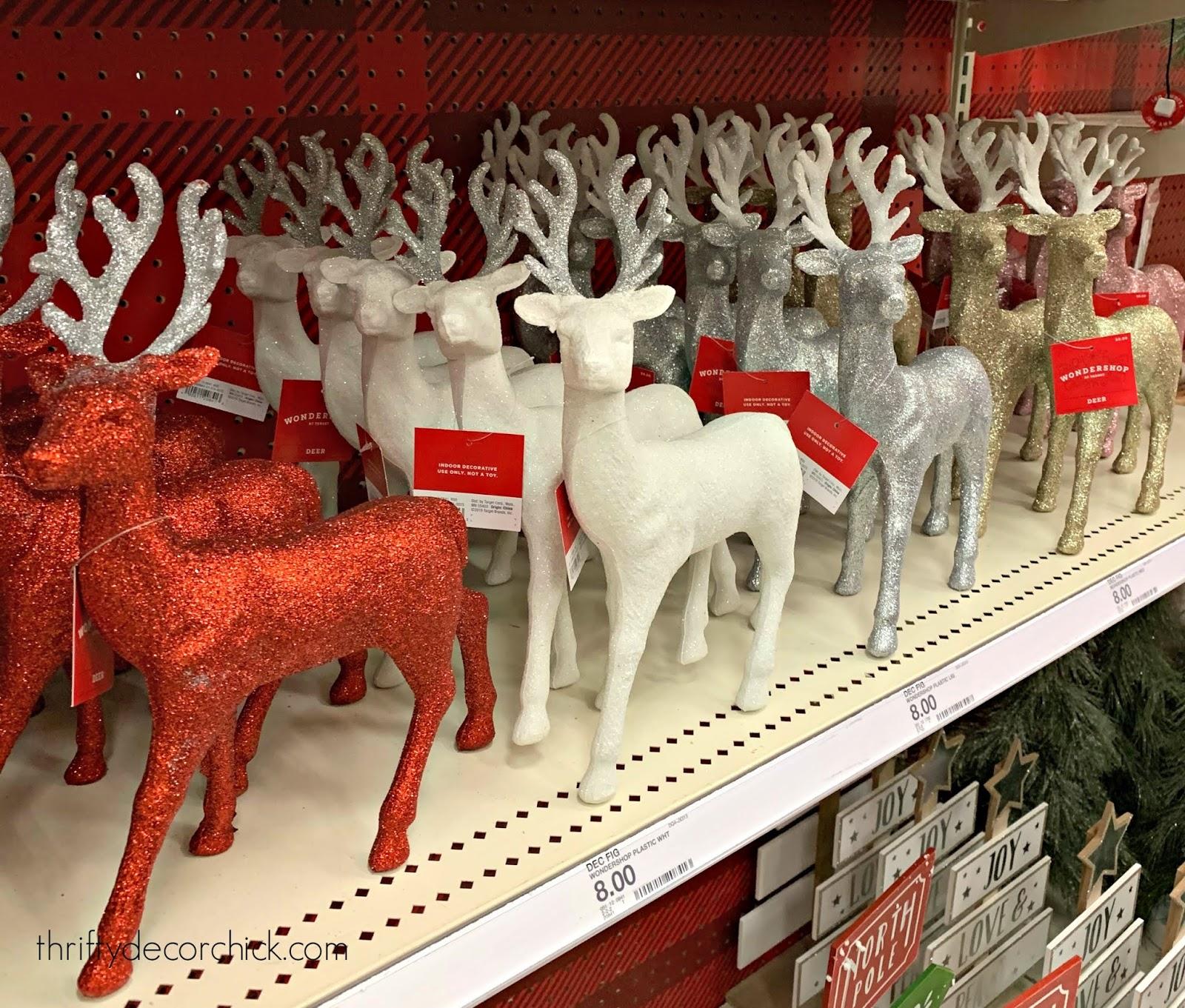 glitter reindeer figurines
