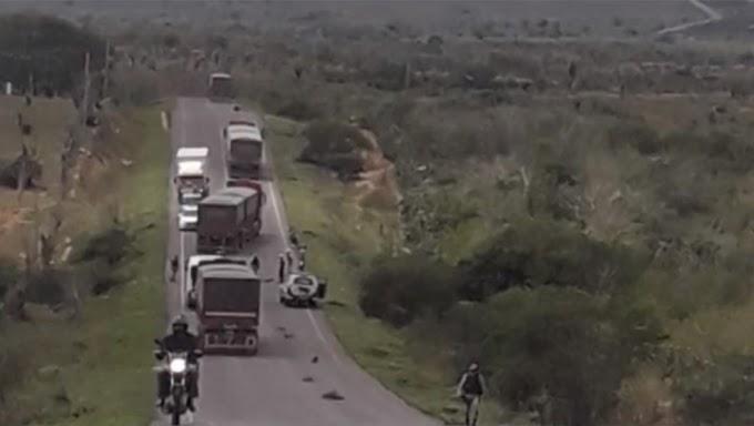 Casal e criança morrem após pneu de carreta se soltar e atingir moto entre Ipirá e Itaberaba