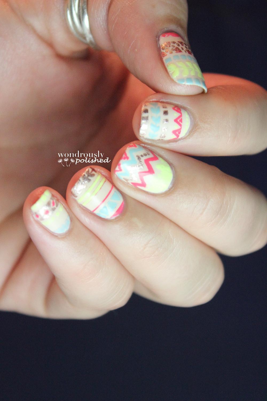 Wondrously Polished April Nail Art Challenge: Wondrously Polished: Sunglow Stripes
