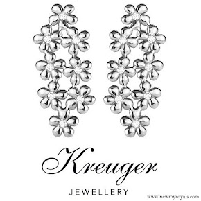 Crown Princess Victoria style Kreuger Jewellery - Poppy earrings with diamonds