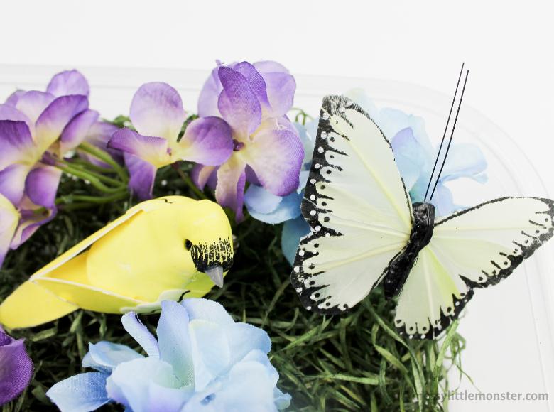 Spring flower sensory bin for toddlers