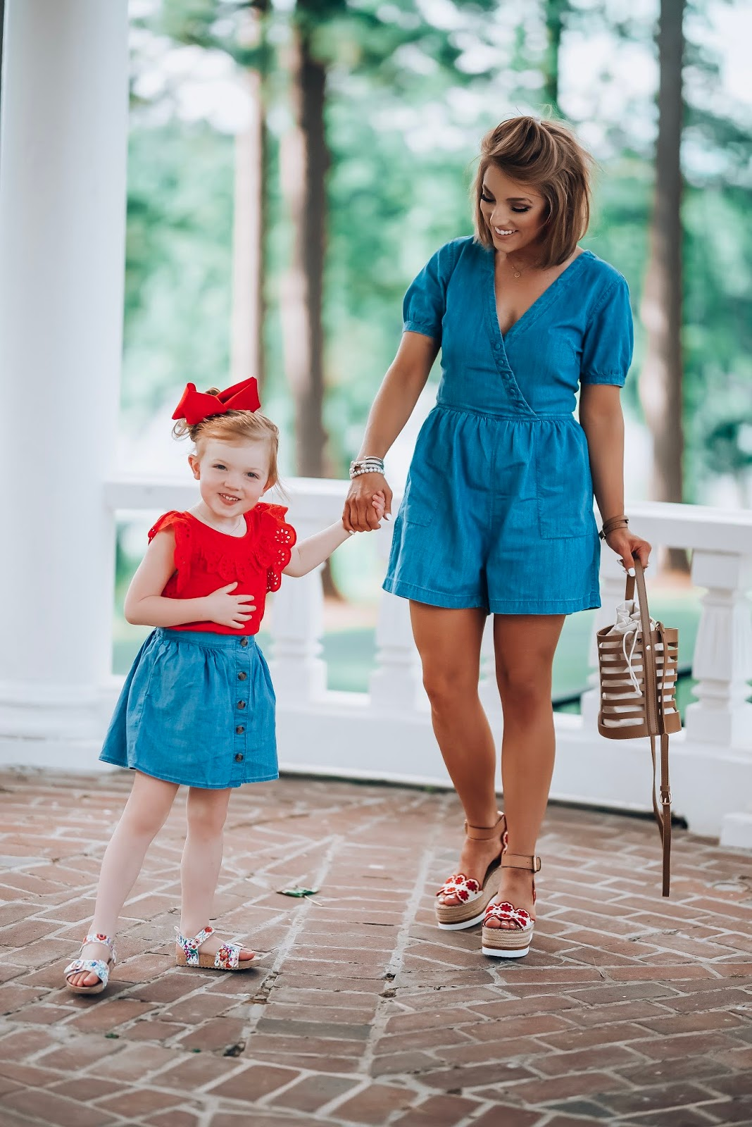 The Best Way to Wear Chambray: Madewell Chambray Button Detail Romper Paired With Red Accessories - Something Delightful Blog