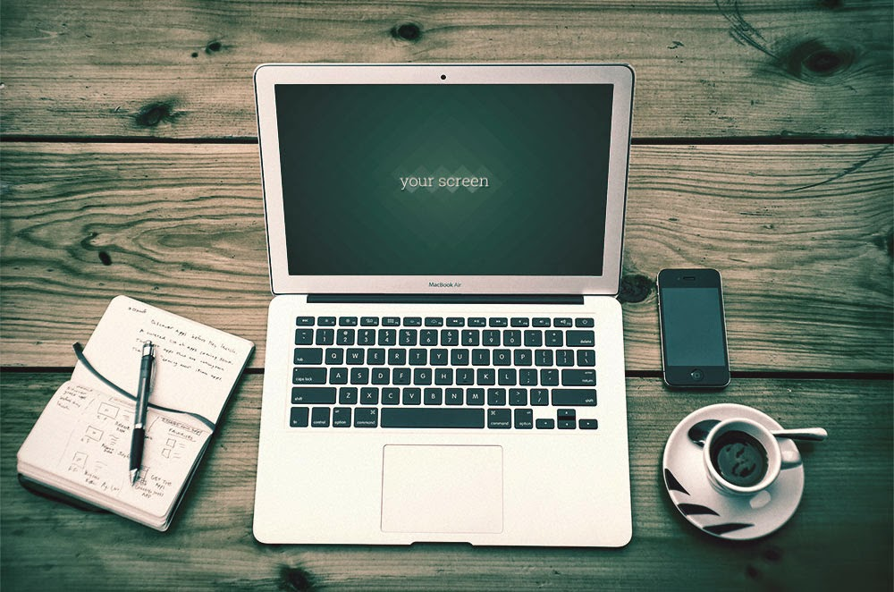 Macbook Air Photo Mockups PSD
