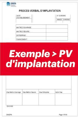 Exemple procès verbal d'implantation en format image
