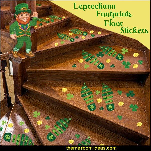 Leprechaun Footprints Floor Stickers gold coins decals st patricks decorations