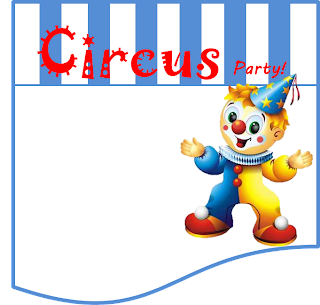 Funny Clown  Free Printable Invitations, Labels or Cards.