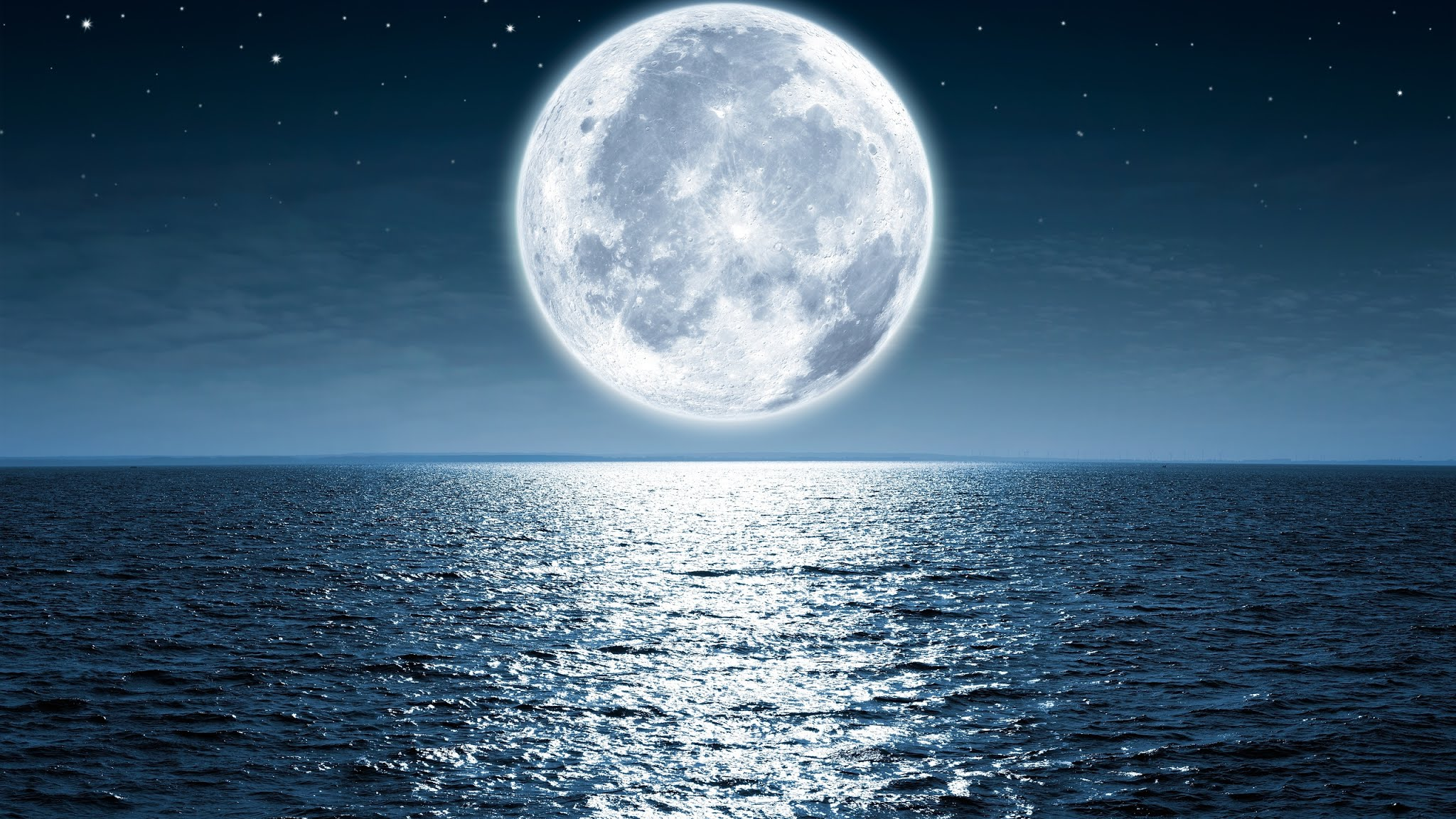 Moon Sea Night Wallpaper